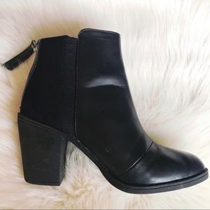 Black Snakeskin Inset Ankle Booties